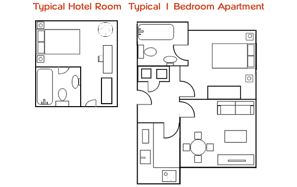 floorplan - hotel compared to 1 bed apartment